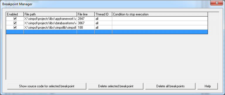 Breakpoint Manager