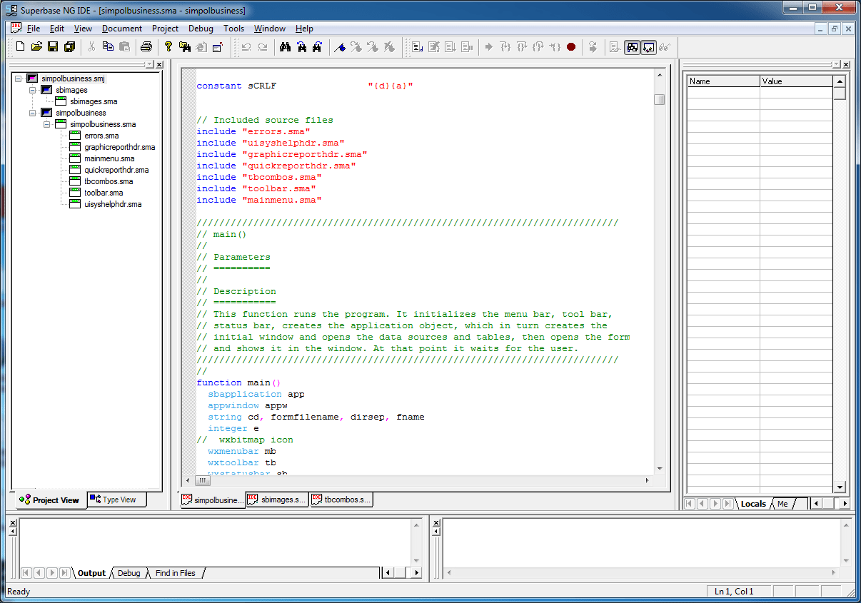 IDE - With an Open Project