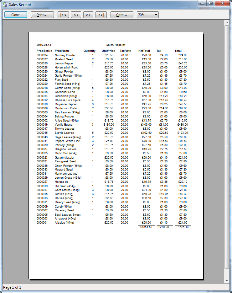 Quick Report Output
