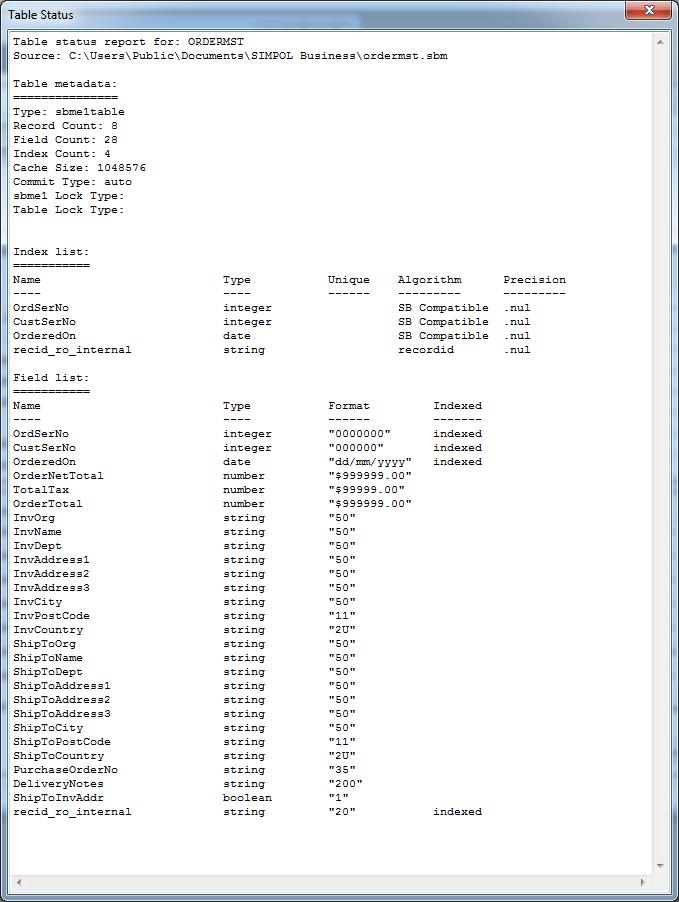 Table Status Report